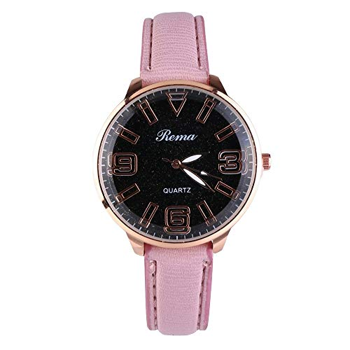 UINGKID Damen Armbanduhr Analog Quarz Mode Luxus Starry Dial Convex Glas Leder Gürtel Damenuhr