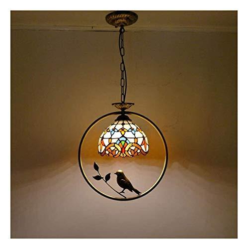 Iluminacion colgante Lámpara colgante industrial Luz pendiente de Tiffany Barroco Manchado Isla de cristal hierro luz Bird habitación de los niños Lámpara colgante for el dormitorio Comedor