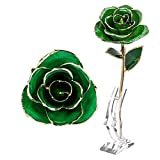 SALUTUYA Rosa chapada en Oro de 24 k, Color más Recto, Flor Rosa Dorada Verde, Flor Rosa Dorada de 24 k, para colección de Navidad para Regalo de Boda