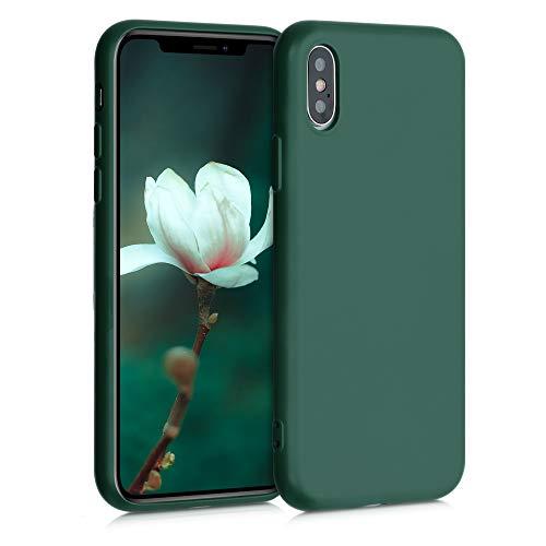 kwmobile Funda Compatible con Apple iPhone XS - Carcasa de Silicona TPU para móvil - Cover Trasero en Verde Musgo
