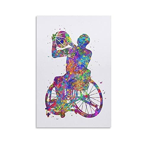 LOCANIC Póster deportivo para silla de ruedas de baloncesto de los hombres de acuarela, póster de lienzo moderno para oficina, familia, dormitorio, decoración de pared, póster de 30 x 45 cm