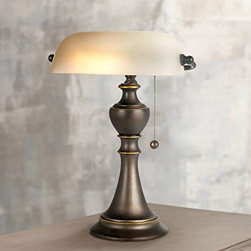 Haddington Traditional Piano Banker Table Lamp 16' High Antique Bronze Dark Brown Metal Alabaster Glass Shade Decor for Bedroom House Bedside Nightstand Home Office Reading - Regency Hill