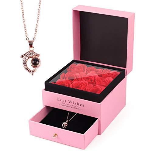 Becoyou Rose Eternelle, Rose Éternelle avec Collier Coffret Cadeau Femmecadeaux Fnniversaire Femme Original Cadeau de Idee Cadeau Couple Cadeau Anniversaire Maman