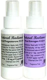 Natural Radiance Estro Pack = Two 2 oz. Bottles with Measured Pump - One Progesterone & One Estrogen/Estriol- 2 Natural Menopause Products in One Package - Great for Air Travel.