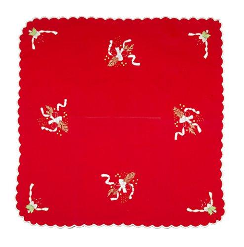 Set Rouge Ligne cadeau de Noel 100% pur coton 85 x 85 cm fabriqué en italie