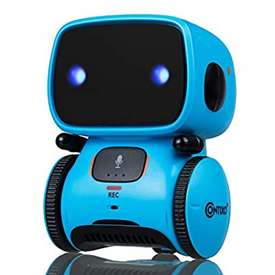 Contixo R1 Learning Educational Kids Robot Toy Talking Speech Recognition Recording and Voice Controlled Interactive Touch Sensor Smart Robotics with Singing, Dancing, Gift for Kids Age 3+ (Blue)