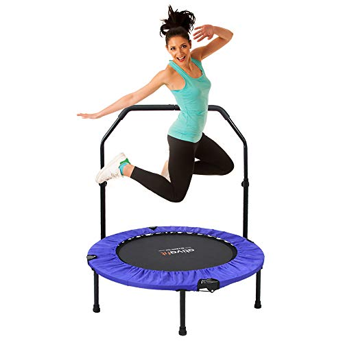 "ATIVAFIT 40"" Foldable Trampoline Mini Exercise Rebounder with Adjustable Foam Handle Great for Body Fitness Training Indoor/Garden/Workout"
