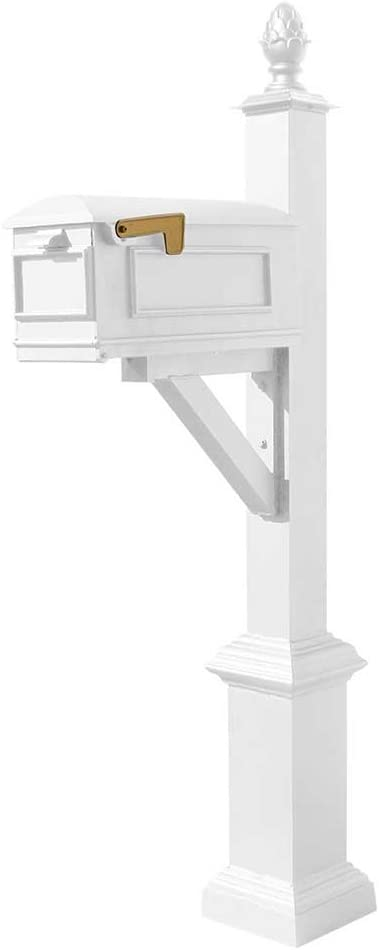 Qualarc WPD-SB1-S3-LMC-WHT Westhaven Cast Aluminum Post Mount Sy