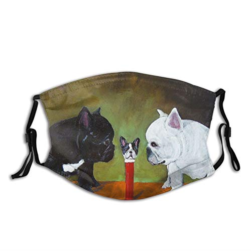 Jreergy Face Mask Bandanas With 2 Filter,French Bulldog Adjustable Masks,Face Balaclava For Men Women