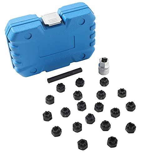 PLAYOCCAR 22 pièces Kit de Démontage de Clé de Verrouillage de Roue Compatible avec VW Audi Volkswagen avec Adaptateur de prise 1/2 pouce (12,7 mm)