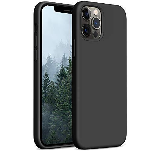 YATWIN Compatibile con iPhone 12 Cover 6,1'', Compatibile con iPhone 12 PRO Cover Silicone Liquido, Protezione Completa del Corpo con Fodera in Microfibra, Nero