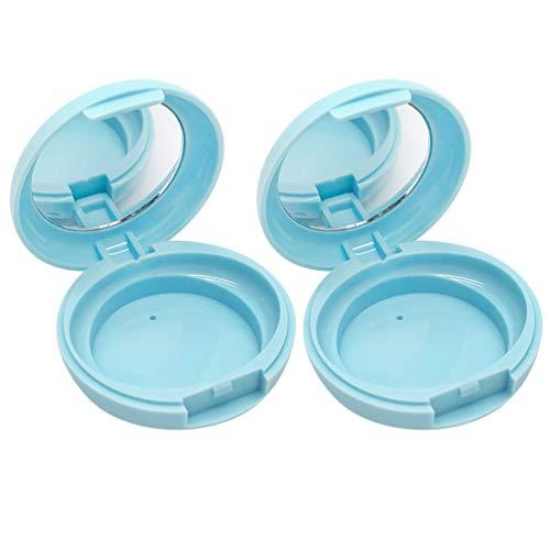 Beaupretty 2Pcs Boîtes de Poudre en Vrac Conteneurs de Maquillage Vides Conteneurs Cosmétiques Rechargeables Portables avec Miroir sans Poudre Bleu Feuilleté