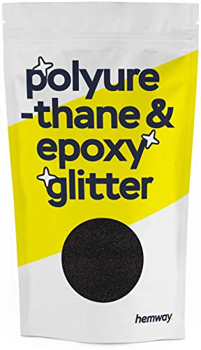 Hemway Metallic Glitter Floor Crystals for Epoxy Resin Flooring (500g) Domestic, Commercial, Industrial - Garage, Basement - Can be Used with Internal & External (Black)