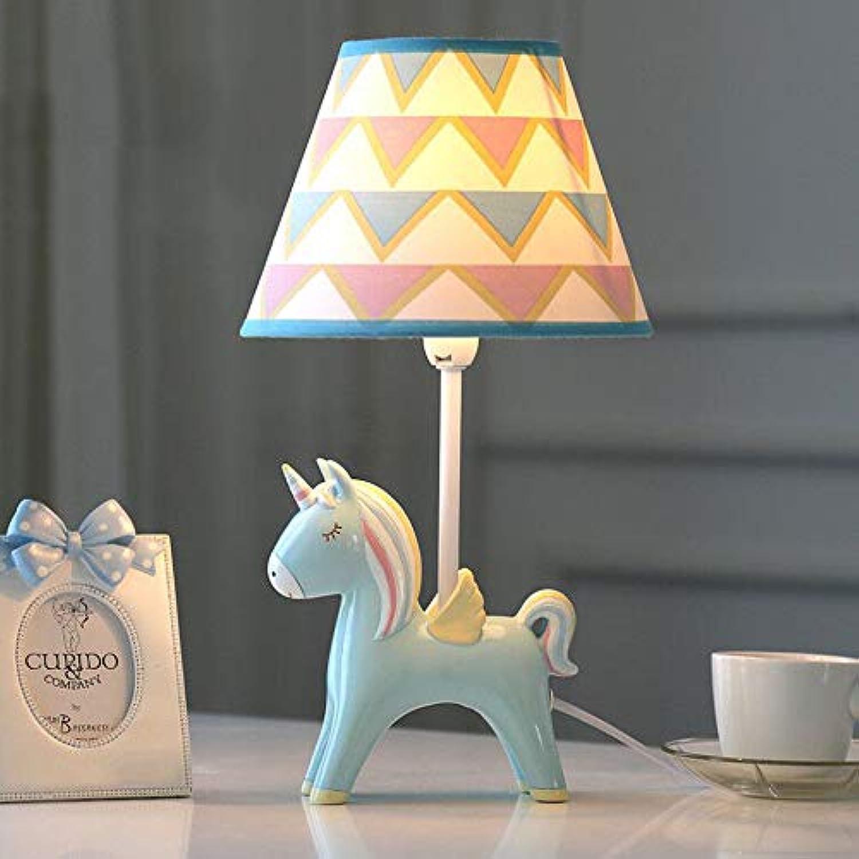 Dimmbare Einhorn LED Tischlampe, Schlafzimmer Nachttischlampe Schreibtisch Baby Kinderzimmer dekorative Leselampe (Blau)