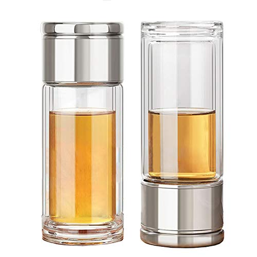 Tea Infuser Bottle, 10oz/300ml Anti-Scald Double Walled Glass Tea Tumbler, Leakproof Portable Travel Tea Mug for Men and Women, Easier for Loose Tea