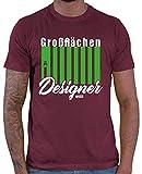 Hariz - Camiseta para hombre, diseño de granjero, incluye tarjeta de regalo Rojo vino. XL