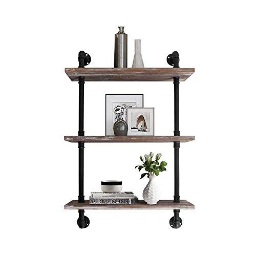 YMYNY Industrial Pipe Shelf Bracket, 2 Tiers Retro Wall Mounted Floating Shelf, Wood Look DIY Storage Shelving Bookshelf, 24
