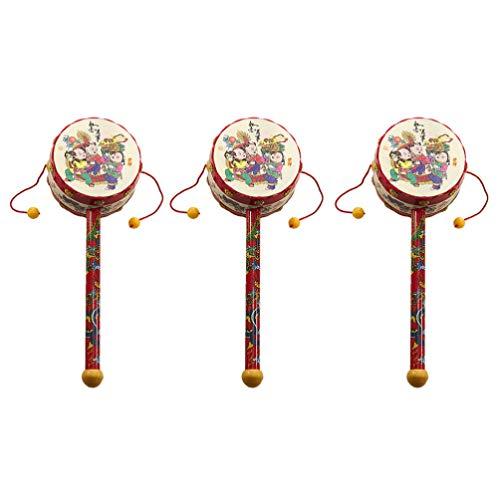 NUOBESTY 3 Stück Rassel-Trommeln Chinesischen Stil Balance Drum Rassel Shaker Percussion Musikinstrument Spielzeug für Baby