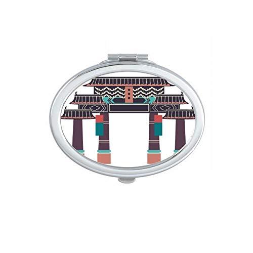 DIYthinker Visiter Le Parc à thème en Corée du Sud Ovale Maquillage Compact Miroir de Poche Portable Mignon Petit Miroirs Main Cadeau Multicolor