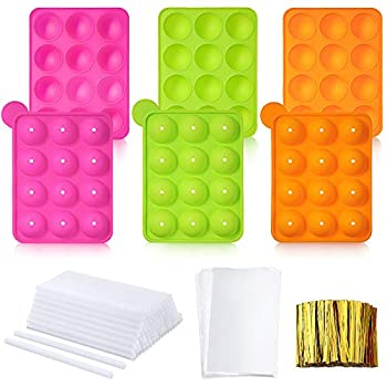 3 Sets Lollipop Cake Maker Set 12-Hole Cake Pop Mold Silicone Lollipop Mold with Lollipop Sticks Treat Bags and Gold Twist Ties for Cake Pop Lollipop Candy and Chocolate  Rose Red Green Orange