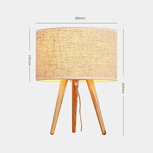 Palm kloset Dormitorio Minimalista Moderno lámpara de Noche lámpara de Noche trípode Cubierta de Lino de Madera con lámpara de Mesa de Madera 28 cm * 42 cm (Color:Blanco) (Color : Gray)