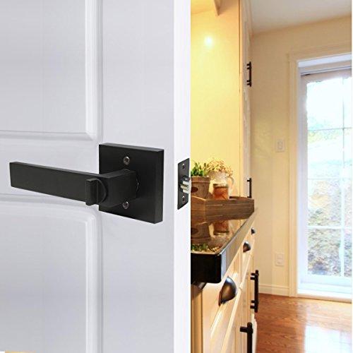 6 Pack Probrico Interior Bedroom Entrance Door Lever Doorknobs Door Lock One Keyway Entry Keyed Alike Same Key Entrance Lockset in Black Each with 3 Keys