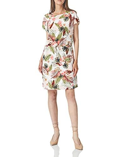 Only ONLPELLA May S S Dress JRS Vestido, Cloud Dancer AOP: palmleaf, L para Mujer