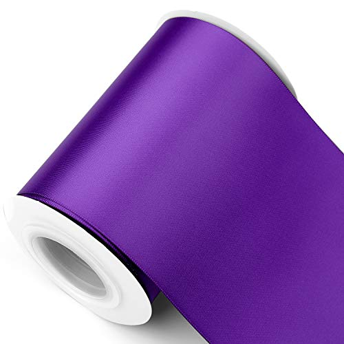 Humphrey's Craft 4 Inch Purple Double Faced Satin Ribbon - 10 Yards Variety of Color and Sizes for Crafts Gift Wrapping Cutting Ceremony Decoration Chair Sash Wedding and Dining Tables.