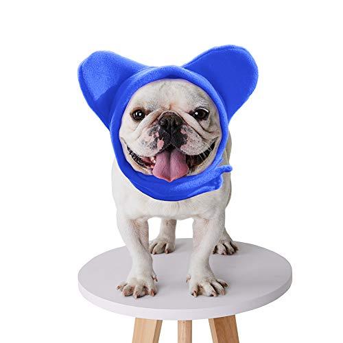 BZB Cute Dog's Fleece Bat Hat Soft Warm Adjustable French Bulldogs Winter Hats Pet Supplies (Medium,Navy Blue)