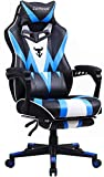 Gaming Chair with Footrest, Recliner Computer Chair for Teens, High Back Gamer Chair with Massage, Desk Chair for Gaming, Ergonomic Gaming Computer Chair, Big and Tall Gaming Chairs for Adults (Blue)