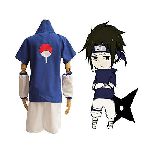 CHANGL Anime Naruto Uchiha Sasuke Cosplay Kostüme Männer Phantasie Party Uniform Outfit mit Waffen Requisiten für Halloween Kleidung