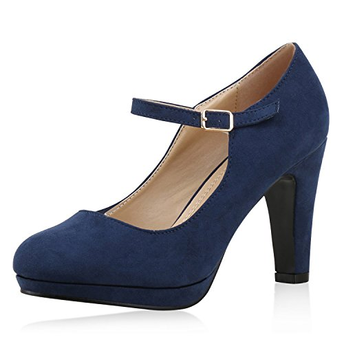 SCARPE VITA Damen Pumps Mary Janes Blockabsatz High Heels T-Strap 160322 Dunkelblau Velours 36