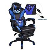 YOURLITEAMZ Racing PC Gaming–Sedia da Ufficio Computer PU direzionale con Schienale Alto Regolabile Sedia Girevole da Ufficio Supporto Lombare con poggiapiedi e poggiatesta Blue Version 2.0
