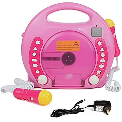 IQ Toys Anti Skip CD-USB-SD Player with 2 Microphones and AC Adapter Portable Kids Karaoke Machine Sing Along Music Player, Hot Pink