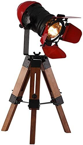Lámpara de Mesa de Piso con trípode de Madera, lámpara de Escritorio Industrial Retro Madera náutica Cine Reflector Proyector Luz de Lectura para Sala de Estar y Oficina
