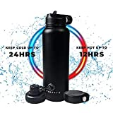 Hyydrate Sports Water Bottle - 40oz, 3 Lids, Vacuum Insulated Stainless Steel, Keeps Liquids Hot or...