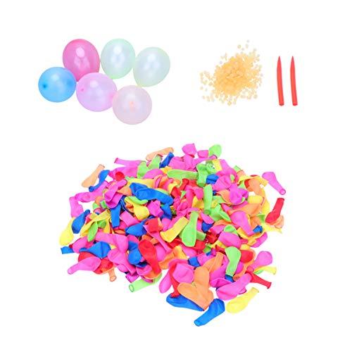 LIOOBO 500 Stücke Wasserballons Wasserbomben Luftballons Biologisch Abbaubar mit 500 Binderinge und 2 Nadeln Kinder Wasserspielzeug für Kampf Sport Geburtstag Party Spiel