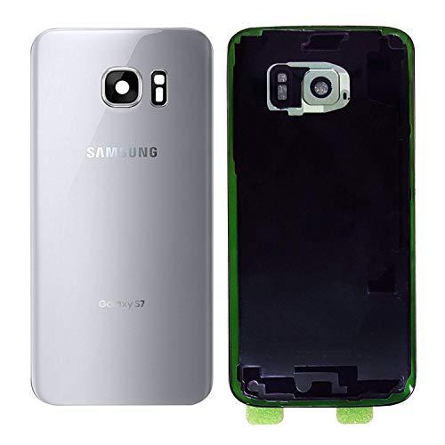 MovTEK Tapa Trasera de Cristal de Batería Trasero Original para Samsung Galaxy S7 G930F con Lente de Cámara Plata
