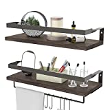 ENDOTO Floating Shelves with Towel Bar, Wall Mounted Storage Shelves Organizer for Bathroom, Kitchen, Bedroom, Living Room & Hallway, Set of 2