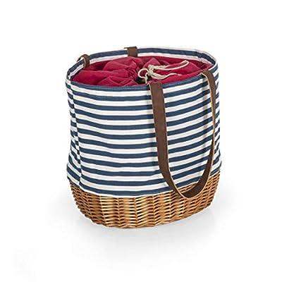 Picnic Time - A Picnic Time Brand 203-00-211-000-0 Coronado Canvas and Willow Tote Picnic Baskets, Navy Blue & White Stripe