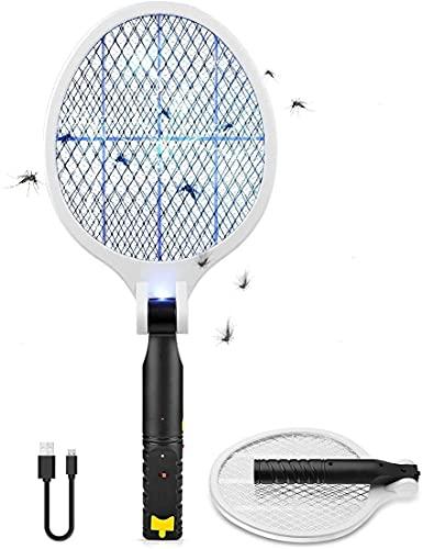 Myguru Racchetta Zanzare Elettrica Pieghevole, 4000V Swatter Elettrico USB Ricaricabile Grande Repellente Mosquito Killer Elettronico Volare Anti-Insetti Stermina Uccisore Mosche Insetticida Luce UV