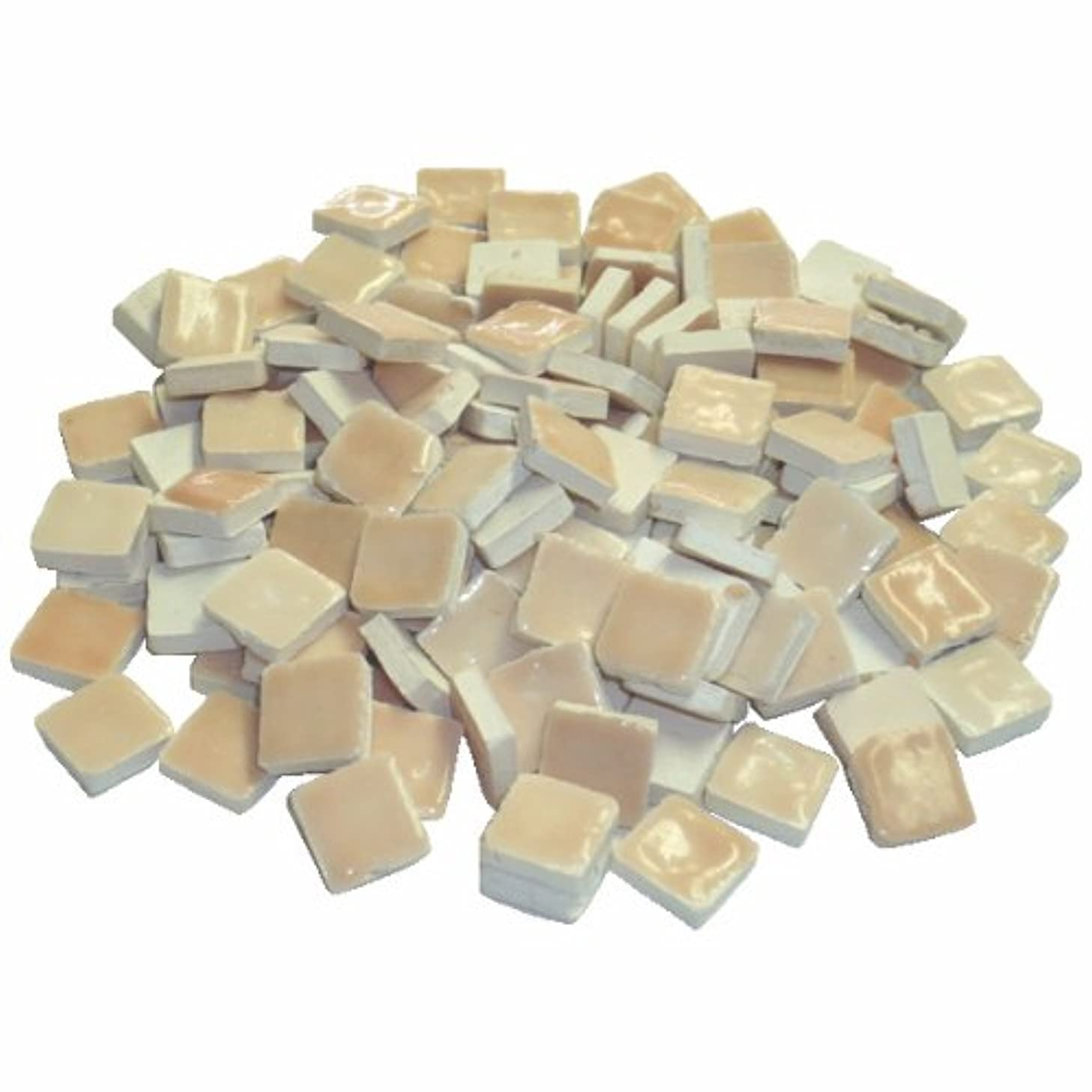 Mosaix 10 x 10 x 3 mm 70 g 150-Piece Ceramic Glazed Mosaic Tiles, Light Pink