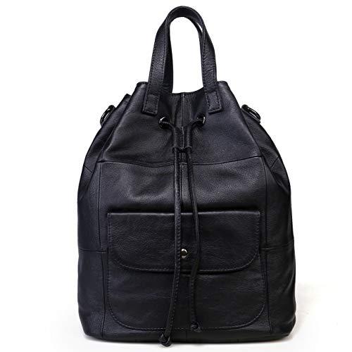 Beylasita Zaino da donna in Vera Pelle Grande Borse a tracolla di Vacchetta Morbida Borsa a Mano vintage backpack daypack per Viaggio Scuola Lavoro Università (Nero)