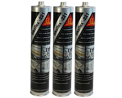 3x Sikaflex -221 Dichtstoff Karosseriedichtmasse Spoilerkleber Uniweiss