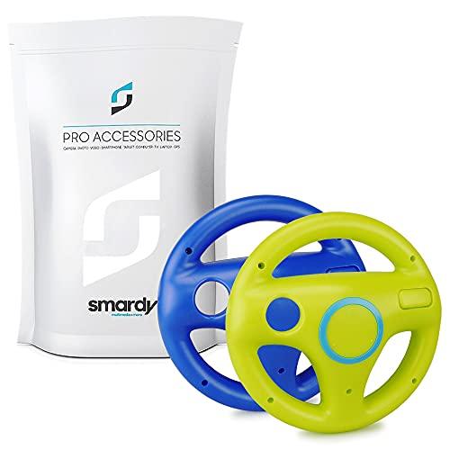 smardy Volante de carreras / Racing Wheel De Dirección verde + azul compatible con Nintendo Wii y Wii U Remote (Mario Kart, Juego De Carreras...)