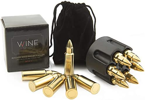 Whiskey Stones Bullets Stainless Steel 1 75in Bullet Chillers Set of 6 With Realistic Revolver product image
