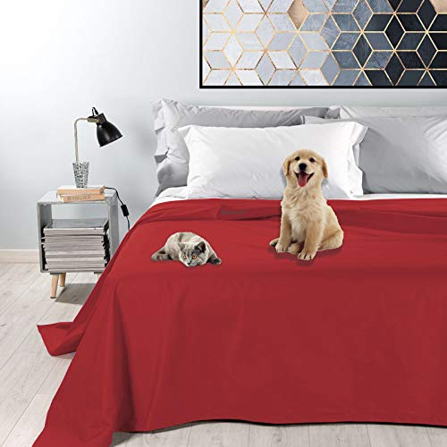 Byour3 Colcha impermeable para cama de matrimonio – Tela decorativa antimanchas para animales, lavable, resistente, primavera, verano, manta anti pelo, gatos, perros, arañazos (180, rojo rubí)