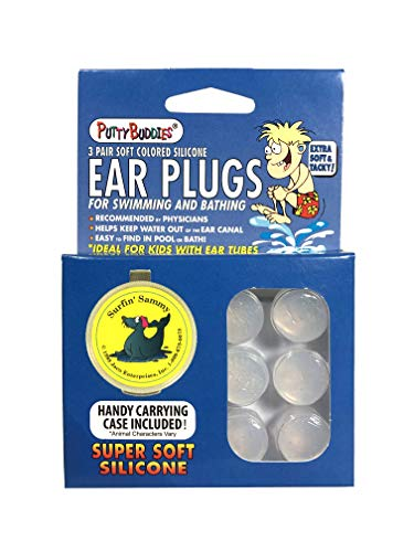 PUTTY BUDDIES Original Swimming Earplugs - Super Soft Moldable Plugs - Block Water - Comfortable - Great for Kids - 3-Pair Pack (Clear)
