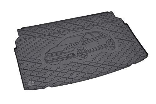 Passgenau Kofferraumwanne geeignet für VW Polo Hatchback ab 2017 ideal angepasst schwarz Kofferraummatte + Gurtschoner