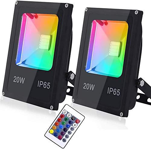 MFLASMF Paquete de 2 reflectores RGB de 20 W para Exteriores, reflectores LED Que cambian de Color con Control Remoto, 16 Colores, 4 Modos, IP65 a Prueba de Agua, para Escenario, jardín, p